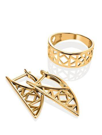 Geometric Gold Plated Ring, Ring Size: 6.5 / 17, image , picture 4