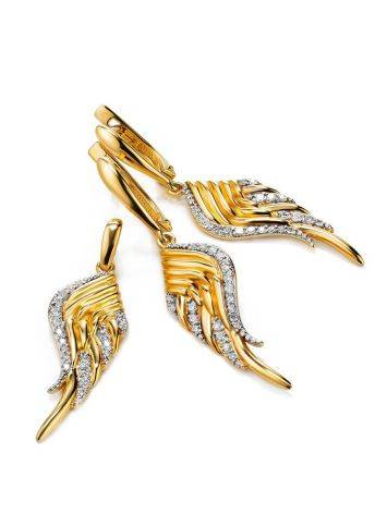 Gold Plated Wing Shaped Dangles With White Crystals, image , picture 3