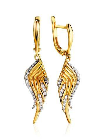 Gold Plated Wing Shaped Dangles With White Crystals, image