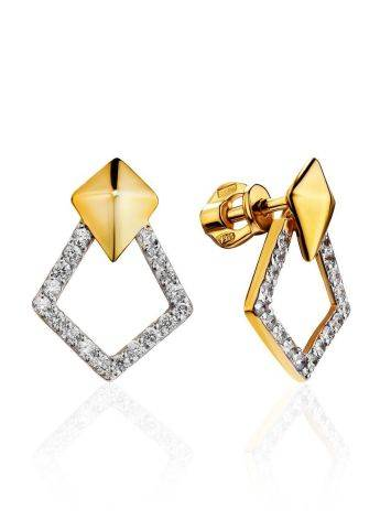 Fabulous Gold Plated Earrings With Crystals, image
