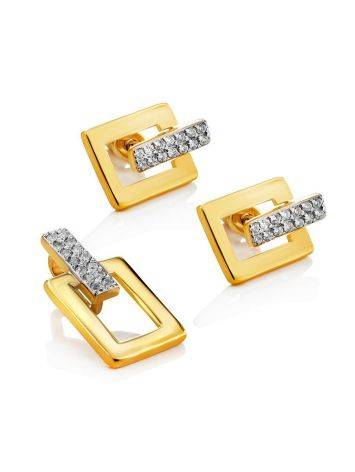 Stylish Geometric Gold Plated Earrings With Crystals, image , picture 3