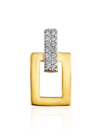 Geometric Gold Plated Pendant With Crystals, image