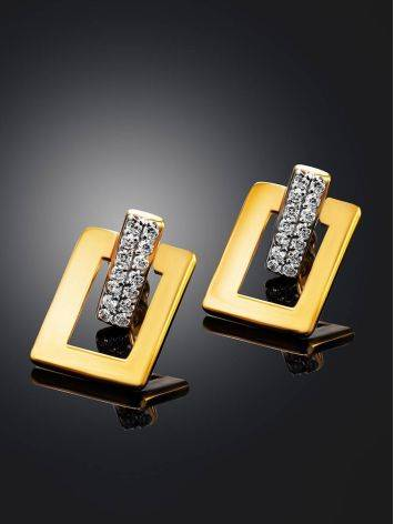 Stylish Geometric Gold Plated Earrings With Crystals, image , picture 2