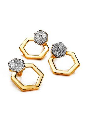 Geometric Gold Plated Stud Earrings With Crystals, image , picture 3
