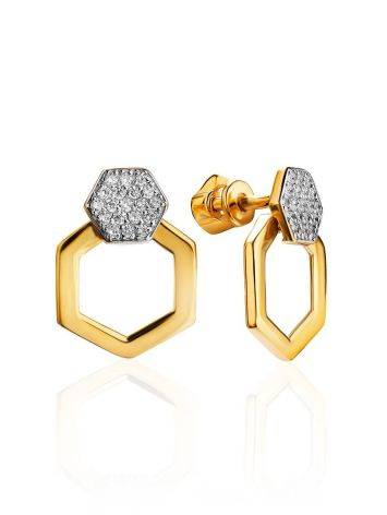 Geometric Gold Plated Stud Earrings With Crystals, image