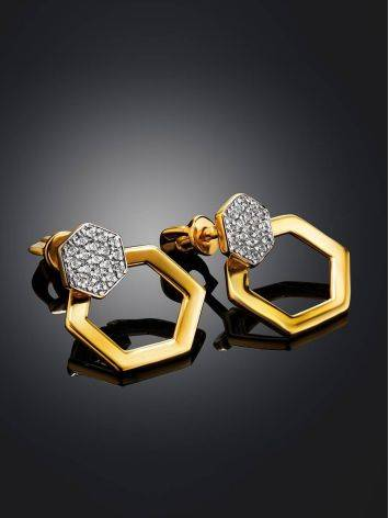 Geometric Gold Plated Stud Earrings With Crystals, image , picture 2