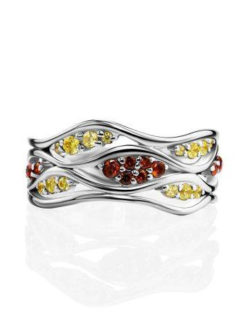 Silver Ring With Two Toned Crystals, Ring Size: 6 / 16.5, image , picture 4