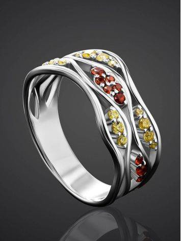 Silver Ring With Two Toned Crystals, Ring Size: 6 / 16.5, image , picture 2