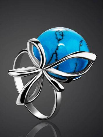 Silver Ring With Bright Turquoise, Ring Size: 6.5 / 17, image , picture 2