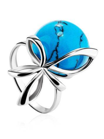 Silver Ring With Bright Turquoise, Ring Size: 6.5 / 17, image