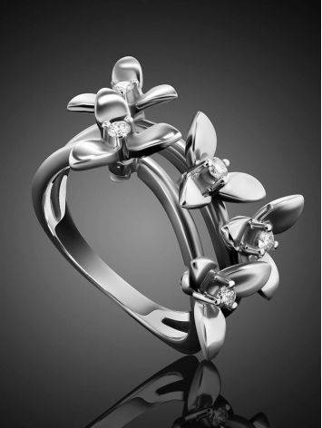 White Gold Floral Ring With Diamonds The Legend, Ring Size: 7 / 17.5, image , picture 2