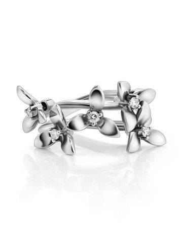White Gold Floral Ring With Diamonds The Legend, Ring Size: 7 / 17.5, image , picture 3