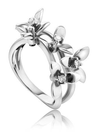 White Gold Floral Ring With Diamonds The Legend, Ring Size: 7 / 17.5, image