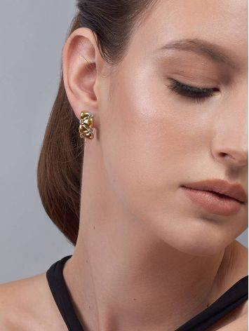 Chic Gold Plated Earrings With Crystals, image , picture 4