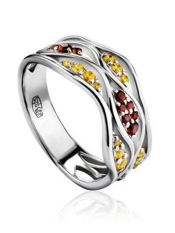 Silver Ring With Two Toned Crystals, Ring Size: 6 / 16.5, image