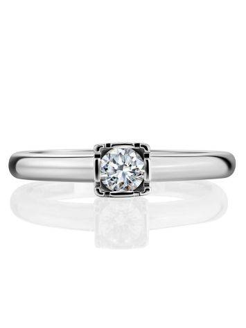 Solitaire Diamond Ring In White Gold, Ring Size: 7 / 17.5, image , picture 3