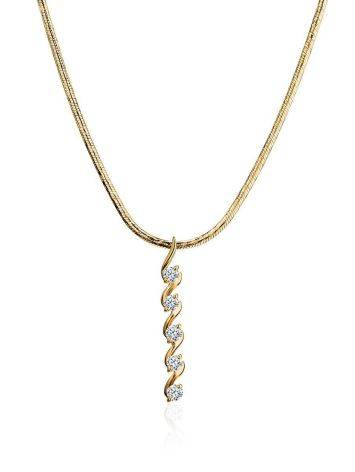Refined Golden Necklace With Elongated Diamond Pendant, image