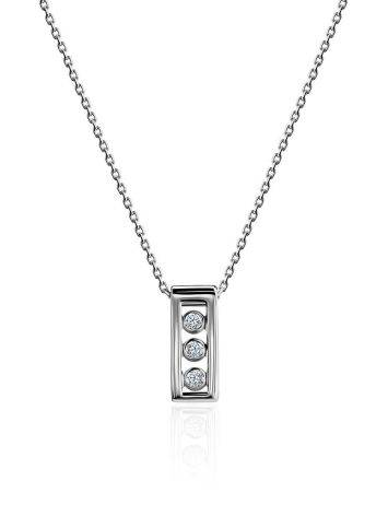 White Gold Necklace With Geometric Diamond Pendant, image