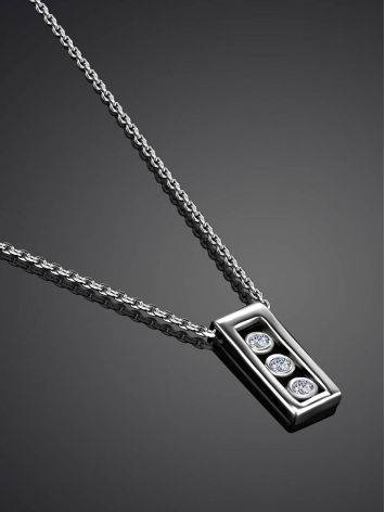 White Gold Necklace With Geometric Diamond Pendant, image , picture 2