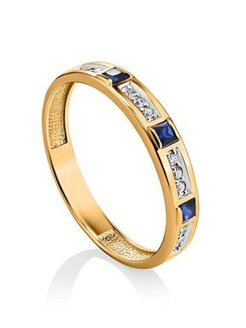 Golden Ring With Channel Set Sapphires And Diamonds, Ring Size: 8 / 18, image