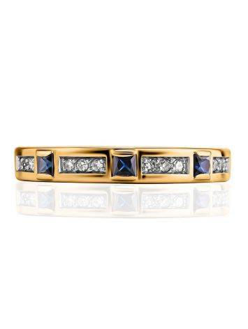 Golden Ring With Channel Set Sapphires And Diamonds, Ring Size: 8 / 18, image , picture 3