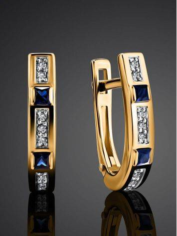 Golden Earrings With Channel Set Sapphires And Diamonds, image , picture 2