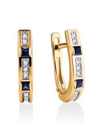Golden Earrings With Channel Set Sapphires And Diamonds, image