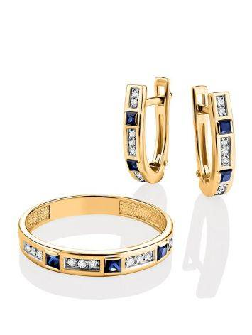 Golden Ring With Channel Set Sapphires And Diamonds, Ring Size: 8 / 18, image , picture 4