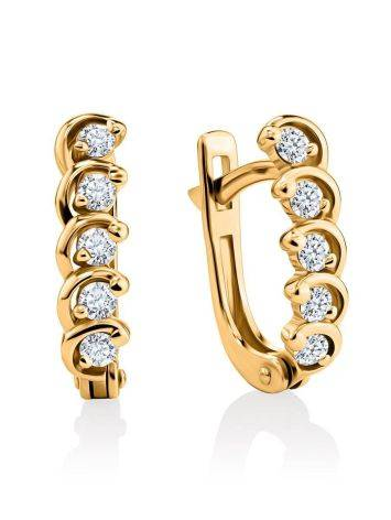 Classy Golden Earrings With White Diamonds, image
