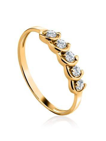 Classy Golden Ring With White Diamonds, Ring Size: 6.5 / 17, image