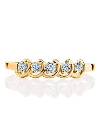 Classy Golden Ring With White Diamonds, Ring Size: 6.5 / 17, image , picture 3