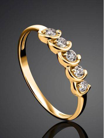 Classy Golden Ring With White Diamonds, Ring Size: 6.5 / 17, image , picture 2