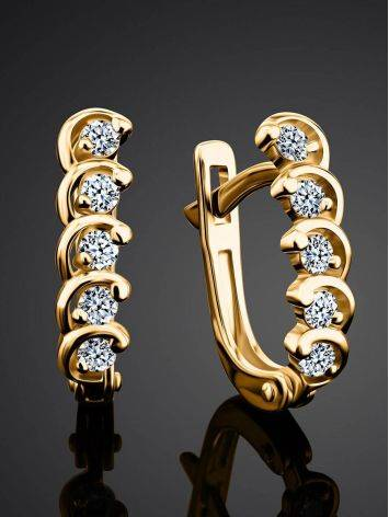 Classy Golden Earrings With White Diamonds, image , picture 2