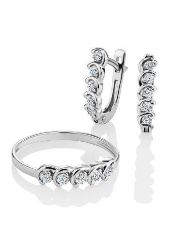 White Gold Diamond Earrings, image , picture 3