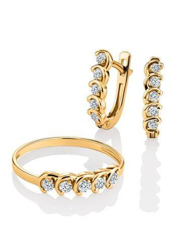 Classy Golden Earrings With White Diamonds, image , picture 3