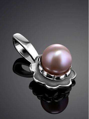 Adorable Silver Pendant Wit Mauve Colored Pearl, image , picture 2