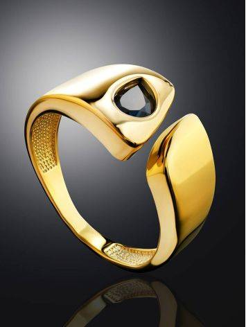Bold Gold Plated Open Ring With Blue Crystal, Ring Size: 6 / 16.5, image , picture 2