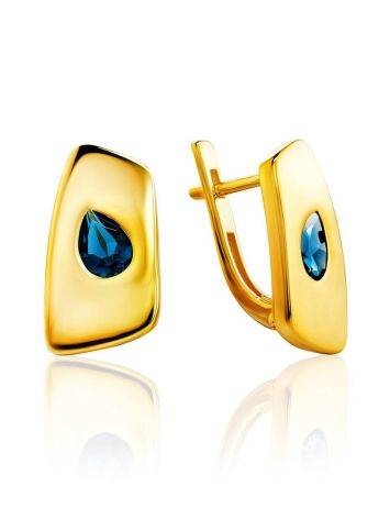 Stylish Gold Plated Earrings With Blue Stones, image