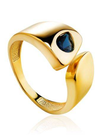 Bold Gold Plated Open Ring With Blue Crystal, Ring Size: 6 / 16.5, image