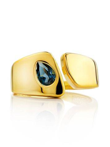 Bold Gold Plated Open Ring With Blue Crystal, Ring Size: 6 / 16.5, image , picture 3