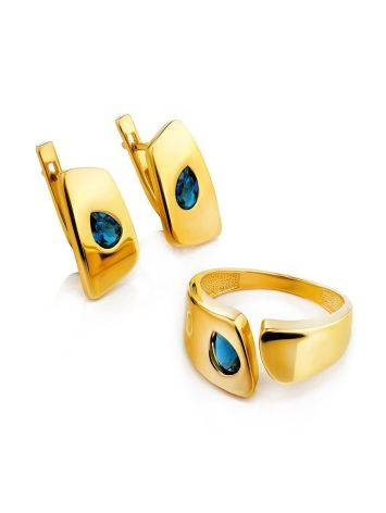 Bold Gold Plated Open Ring With Blue Crystal, Ring Size: 6 / 16.5, image , picture 4
