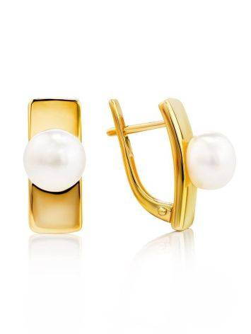 Geometric Gold Plated Earrings With Pearl, image