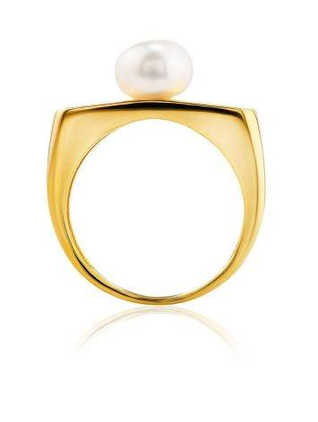 Adorable Gold Plated Ring With Pearl, Ring Size: 5.5 / 16, image , picture 3
