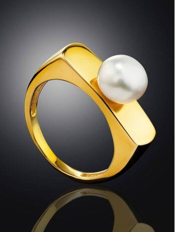 Adorable Gold Plated Ring With Pearl, Ring Size: 5.5 / 16, image , picture 2