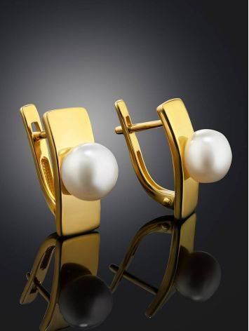 Geometric Gold Plated Earrings With Pearl, image , picture 2