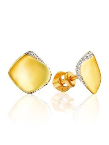 Bright Gold Plated Studs With Crystals, image