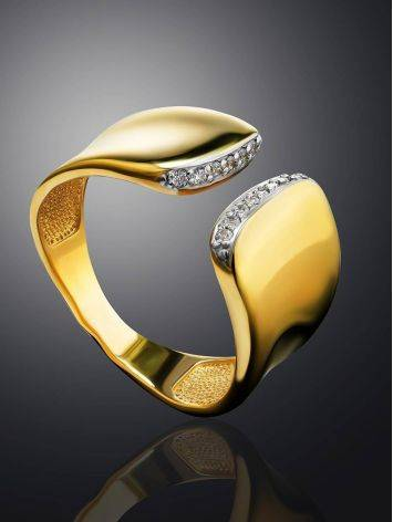 Magnificent Gold Plated Open Ring With Crystals, Ring Size: 6 / 16.5, image , picture 2