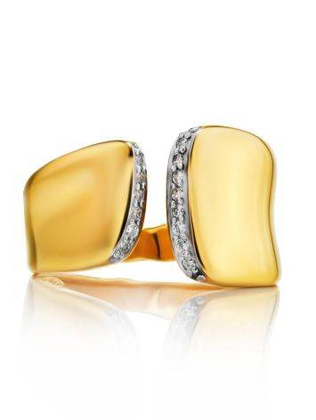 Magnificent Gold Plated Open Ring With Crystals, Ring Size: 6 / 16.5, image , picture 3