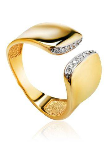 Magnificent Gold Plated Open Ring With Crystals, Ring Size: 6 / 16.5, image