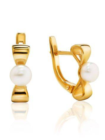 Charming Gold Plated Earrings With Pearl, image